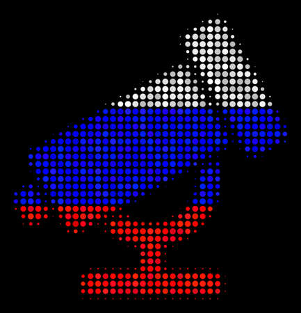 Halftone Telescope pictogram colored in Russian official flag colors on a dark background. Vector concept of telescope icon created from spheric items.