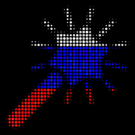 Halftone Wand Magic Tool icon colored in Russia official flag colors on a dark background. Vector pattern of wand magic tool icon made with sphere items.