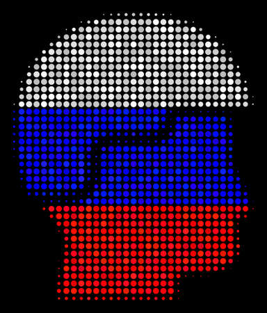 Halftone Soldier Helmet pictogram colored in Russia state flag colors on a dark background. Vector concept of soldier helmet icon designed of spheric spots.
