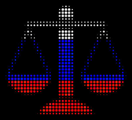 Halftone Weight Scales pictogram colored in Russia official flag colors on a dark background. Vector mosaic of weight scales icon done from round elements. Illustration