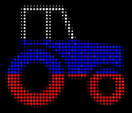 Halftone Wheeled Tractor icon colored in Russian official flag colors on a dark background. Vector mosaic of wheeled tractor icon constructed with spheric spots.