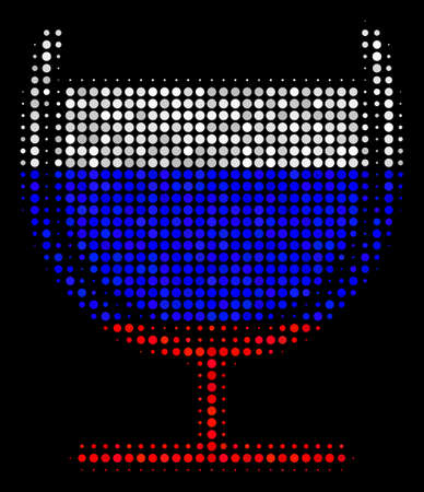 Halftone Wine Glass pictogram colored in Russia state flag colors on a dark background. Vector concept of wine glass icon designed with round dots.