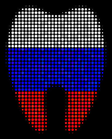 Halftone Tooth icon colored in Russian state flag colors on a dark background. Vector pattern of tooth icon composed of round spots. Designed for political and Russian patriotic posters. Illustration