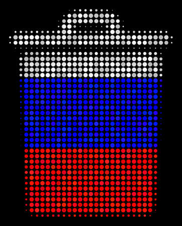Halftone Trash Bin icon colored in Russian state flag colors on a dark background. Vector collage of trash bin icon designed with round dots. Designed for political and Russian patriotic propaganda.