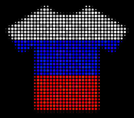 Halftone T-Shirt pictogram colored in Russian official flag colors on a dark background. Vector mosaic of t-shirt icon done of spheric dots. Designed for political and Russian patriotic projects.
