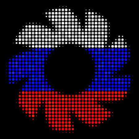Halftone Turbine pictogram colored in Russia official flag colors on a dark background. Vector concept of turbine icon constructed with circle elements.