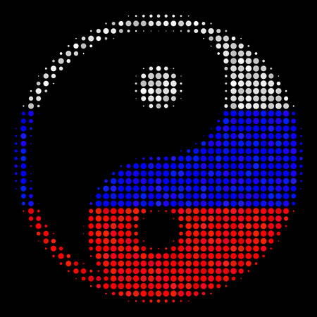 Halftone Yin Yang icon colored in Russian state flag colors on a dark background. Vector concept of yin yang icon constructed of circle dots. Designed for political and Russian patriotic purposes.