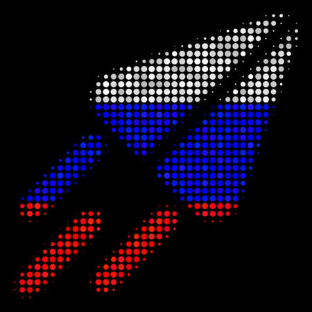 Halftone Space Ship pictogram colored in Russia official flag colors on a dark background. Vector concept of space ship icon composed with spheric spots. Illustration