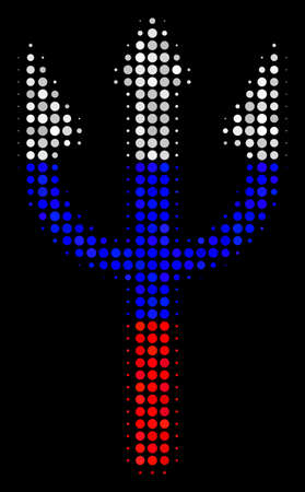 Halftone Trident Fork icon colored in Russian official flag colors on a dark background. Vector mosaic of trident fork icon created with spheric elements. Illustration