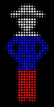 Halftone Gentleman Akimbo icon colored in Russia official flag colors on a dark background. Vector collage of gentleman akimbo icon organized from spheric pixels. Vectores