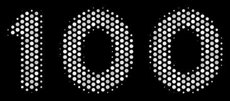 Dot white 100 text icon on a black background. Vector halftone mosaic of 100 text pictogram composed from round elements.