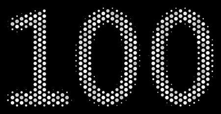 Dotted white 100 text icon on a black background. Vector halftone illustration of 100 text icon made from round dots. Çizim