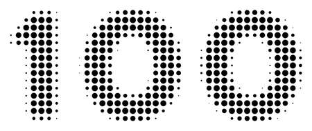 Dot black 100 text icon. Vector halftone mosaic of 100 text pictogram composed from round elements. 일러스트