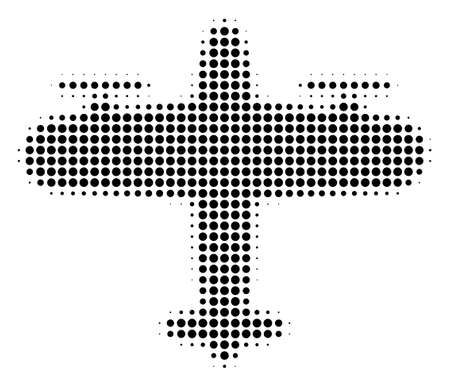 Pixel black aircraft icon. Vector halftone pattern of aircraft pictogram combined from spheric pixels. Illustration