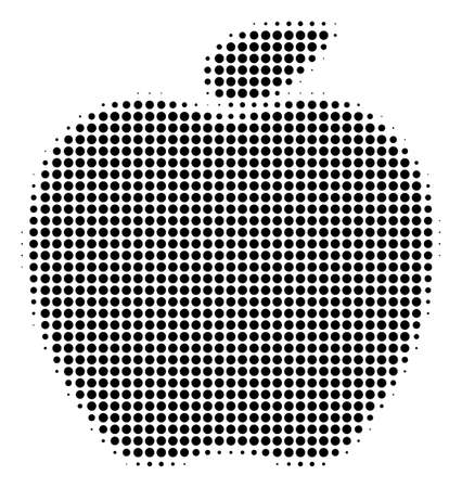 Pixel black apple icon. Vector halftone collage of apple symbol combined from circle items.