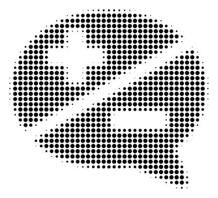 Dot black arguments icon. Vector halftone pattern of arguments symbol made with round items.