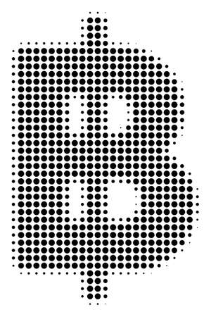 Dot black baht icon. Vector halftone pattern of baht icon constructed from round dots.