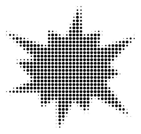 Pixel black bang icon. Vector halftone collage of bang icon organized of round pixels.