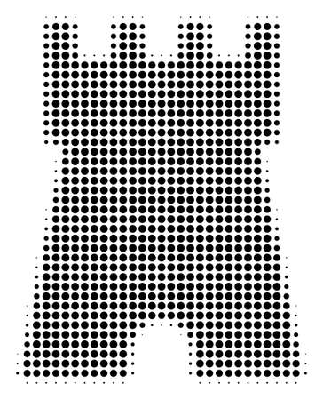 Pixelated black bulwark tower icon. Vector halftone mosaic of bulwark tower pictogram constructed of spheric dots.