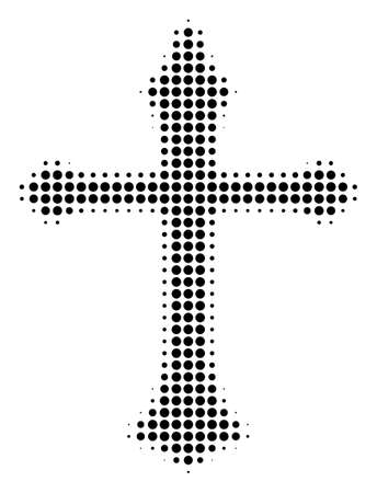Dot black Christian cross icon. Vector halftone collage of Christian cross symbol constructed with spheric pixels. Vectores