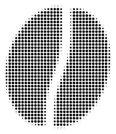 Pixeliertes schwarzes Kaffeebohnensymbol. Vektorhalbtonzusammensetzung des Kaffeebohnenpiktogramms gemacht mit runden Punkten.