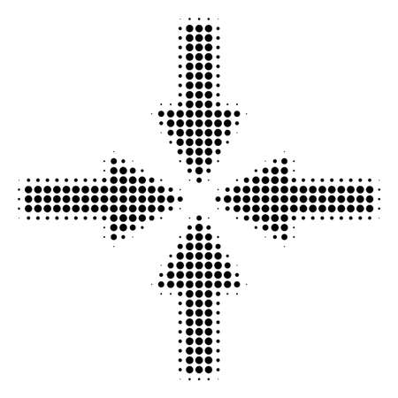 Dotted black collide arrows icon. Vector halftone collage of collide arrows symbol constructed with spheric dots.