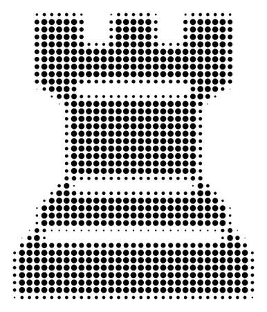 Pixel black chess tower icon. Vector halftone mosaic of chess tower pictogram done with round elements. Illustration