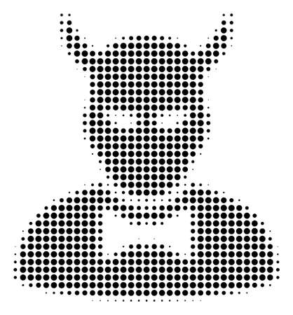 Pixel black devil icon. Vector halftone collage of devil symbol made with circle points.