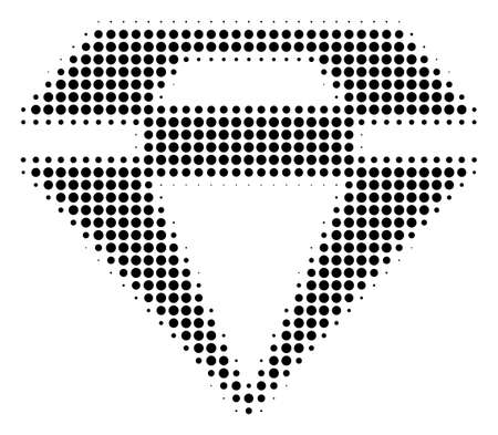 Pixel black diamond icon. Vector halftone mosaic of diamond icon made with round elements.