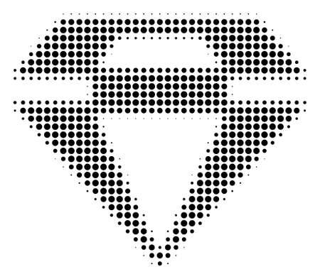 Pixel black diamond icon. Vector halftone mosaic of diamond icon made with round elements.