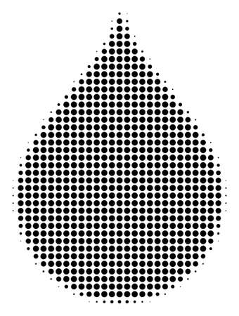 Pixelated black drop icon. Vector halftone pattern of drop symbol of circle items.
