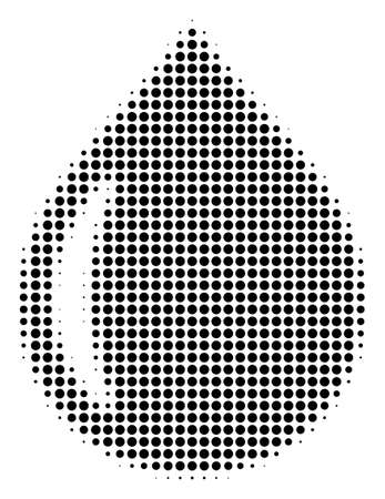 Pixel black drop icon. Vector halftone pattern of drop icon composed from spheric elements. 일러스트