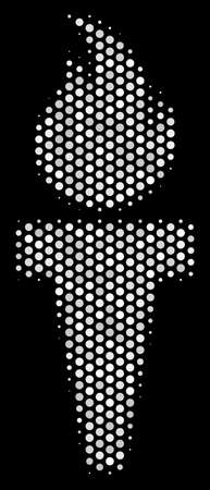 Pixelated white torch fire icon on a black background. Vector halftone concept of torch fire icon combined of round points.