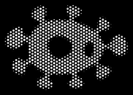 Pixelated white bacteria icon on a black background. Vector halftone concept of bacteria symbol composed of round pixels. Çizim