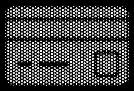 Dot white bank card icon on a black background. A Vector halftone illustration of bank card pictograph made with round pixels.