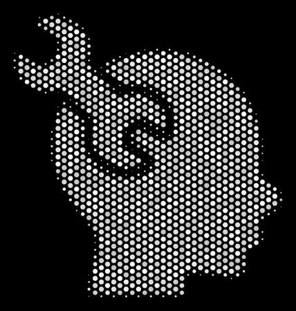 Pixel white brain service wrench icon on a black background. Vector halftone illustration of brain service wrench pictogram constructed of round pixels. Illustration