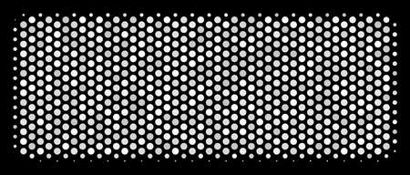 Dotted white building brick icon on a black background. Vector halftone composition of building brick symbol composed of circle elements.