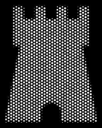 Pixel white bulwark tower icon on a black background. Vector halftone composition of bulwark tower pictogram created from spheric points. Illustration