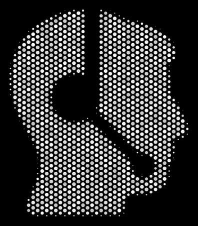 Dotted white call center operator icon on a black background. Vector halftone pattern of call center operator pictogram done from round items. Illustration