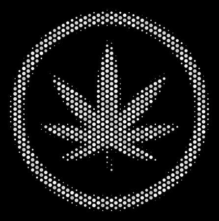 Pixel white cannabis icon on a black background. Vector halftone collage of cannabis symbol composed with round items.