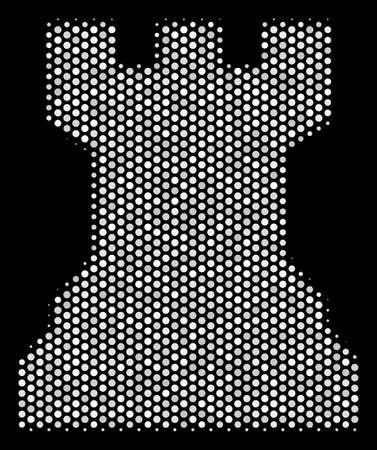 Pixelated white chess tower icon on a black background. Vector halftone illustration of chess tower symbol organized with spheric pixels.