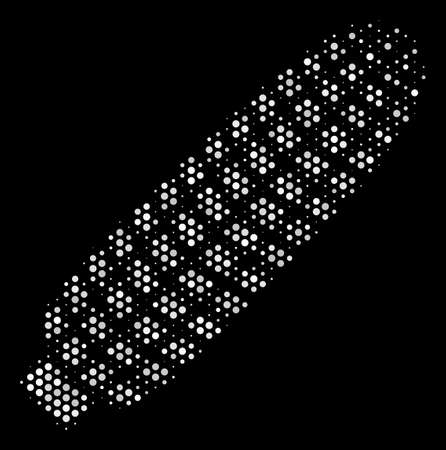Pixel white corn icon on a black background. Vector halftone collage of corn pictogram created with spheric items.