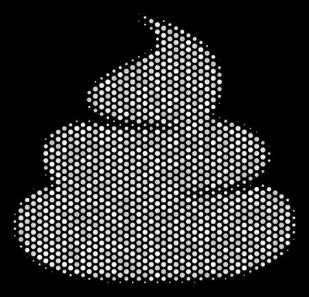 Dotted white crap icon on a black background. Vector halftone collage of crap symbol constructed from circle dots.
