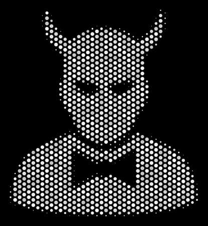 Dotted white devil icon on a black background. Vector halftone mosaic of devil icon done with sphere dots. Ilustração