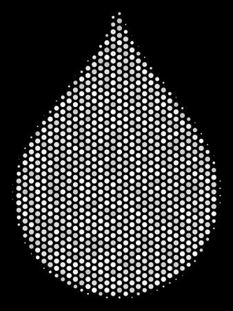 Dot white drop icon on a black background. Vector halftone collage of drop icon composed from circle elements.