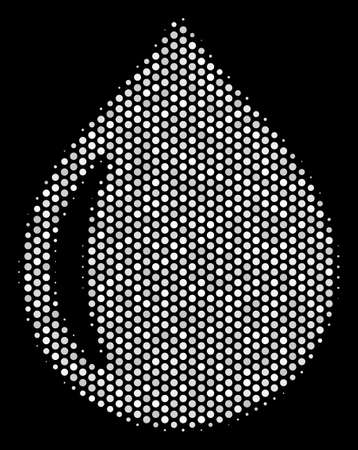 Dot white drop icon on a black background. Vector halftone composition of drop symbol combined with circle elements.