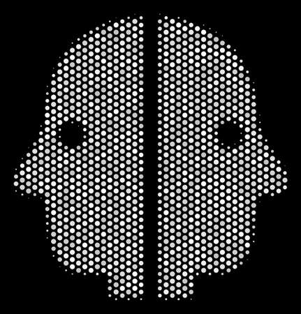 Dot white dual face icon on a black background. Vector halftone collage of dual face icon formed with round pixels.