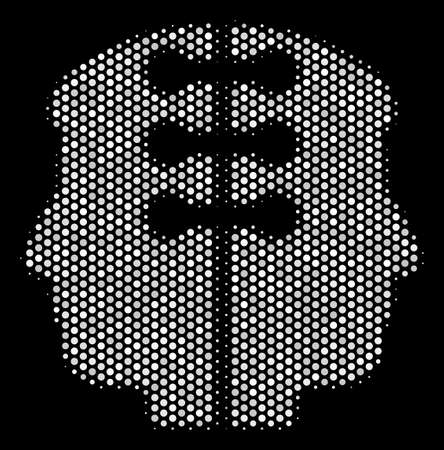 Dot white dual head interface icon on a black background. Vector halftone collage of dual head interface symbol combined of sphere elements.