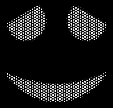 Dotted white embarrassed smile icon on a black background. A Vector halftone pattern of embarrassed smile icon organized of circle items.