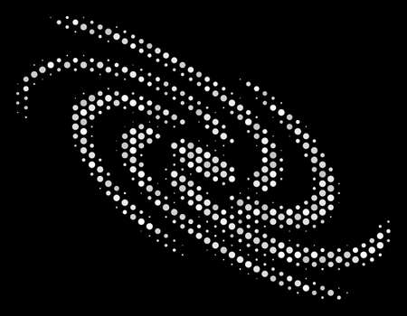 Dot white galaxy icon on a black background. Vector halftone pattern of galaxy pictogram organized from sphere elements. Фото со стока - 100758433